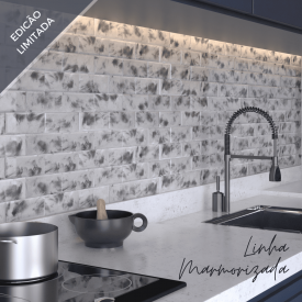 Azulejo Metrô Marmorizado Branco Carrara (m²)